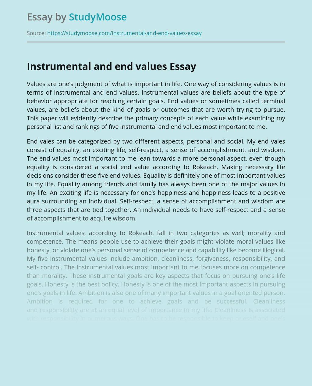 Instrumental and end values