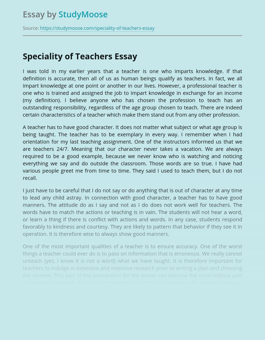 Speciality of Teachers