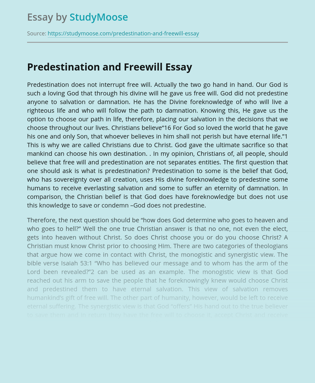 Predestination and Free Will in Christianity