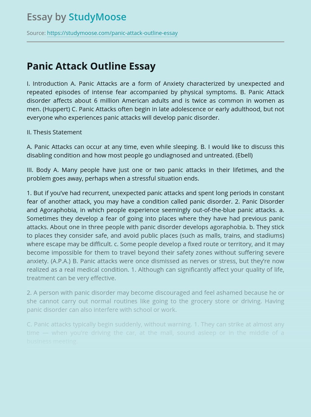 Panic Attack Outline