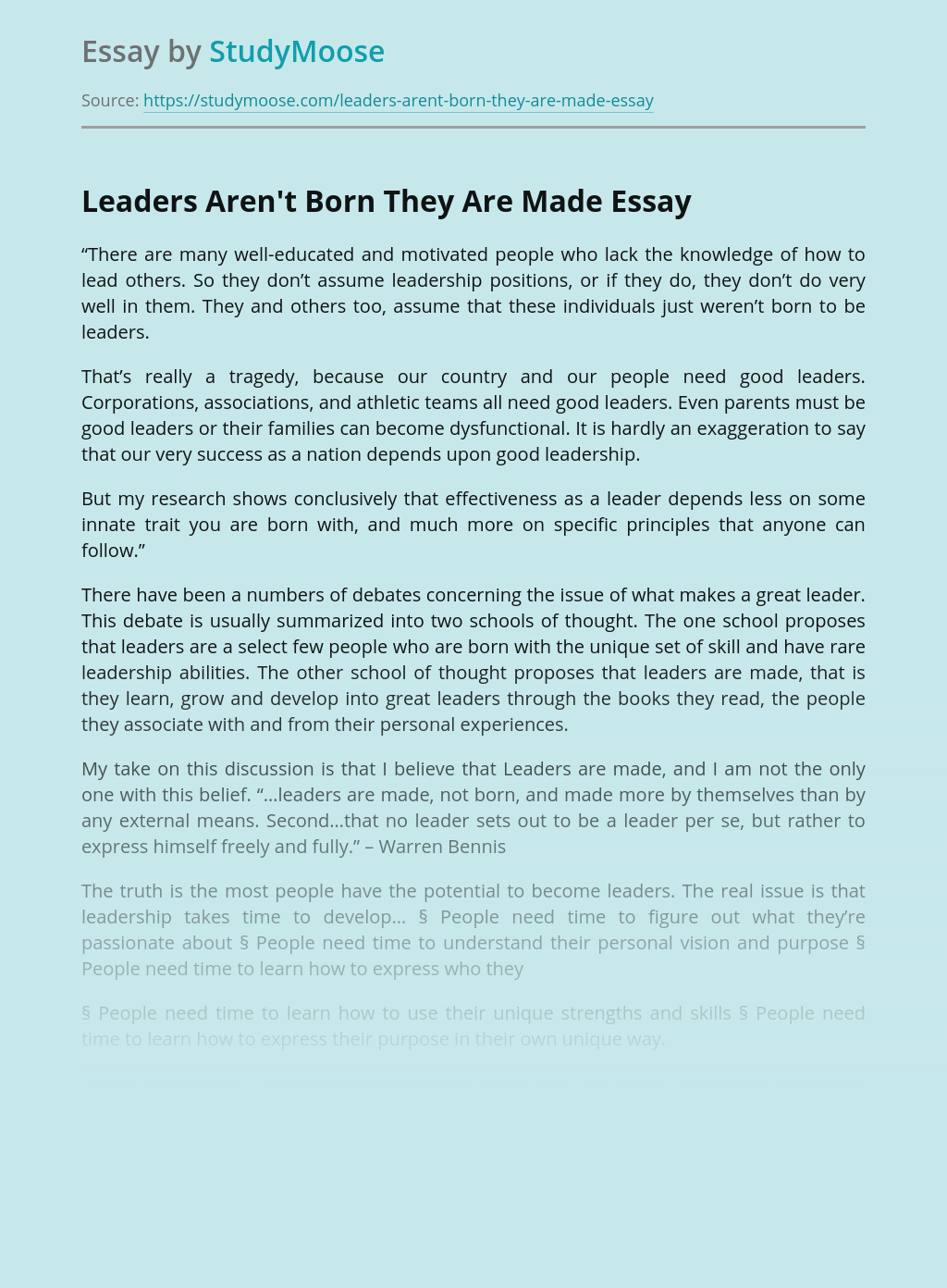 Leaders Aren't Born They Are Made
