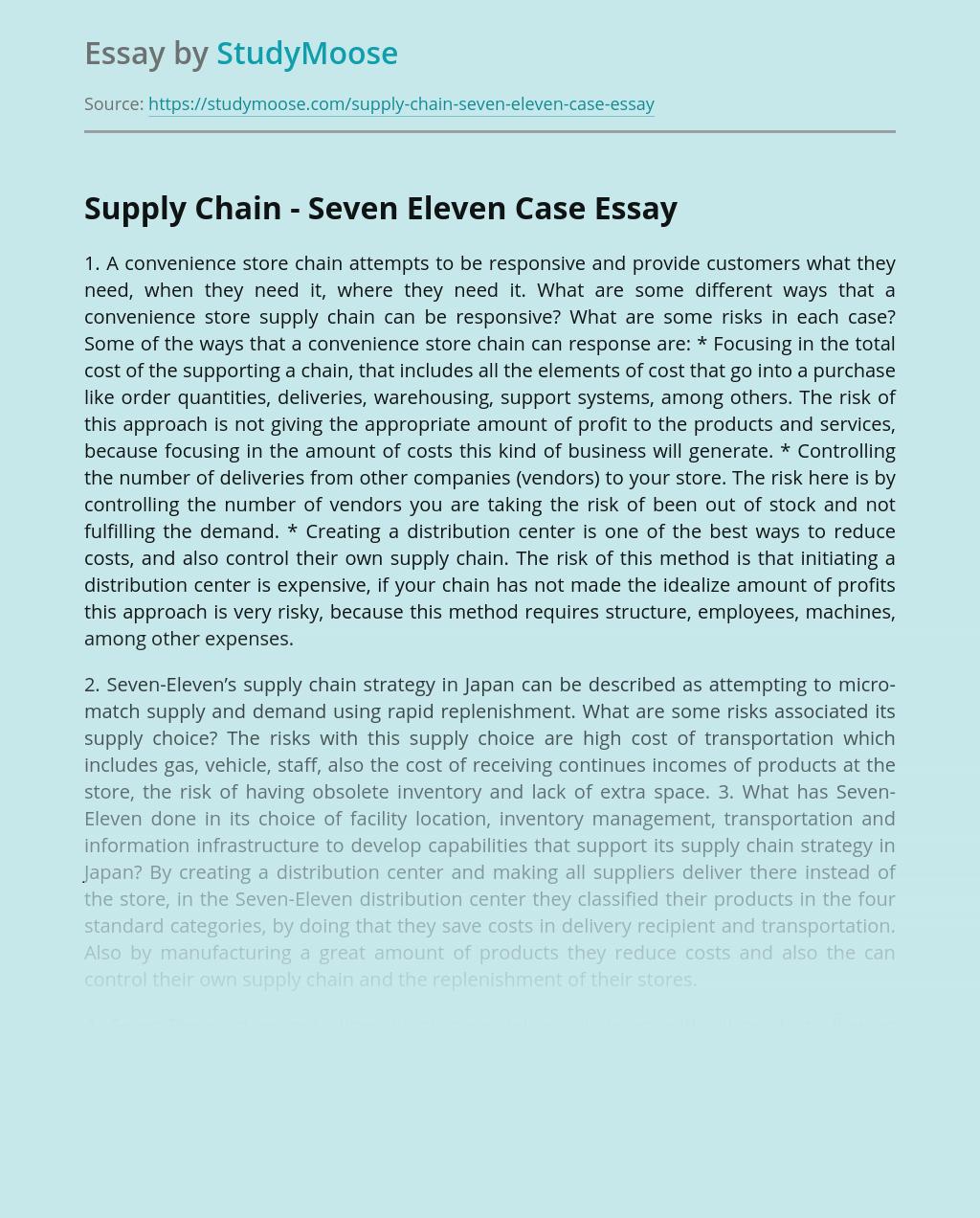 Supply Chain - Seven Eleven Case