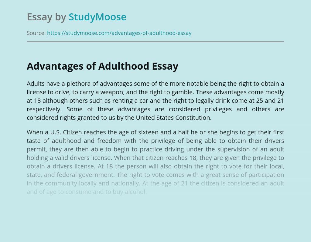 Advantages of Adulthood Freedom