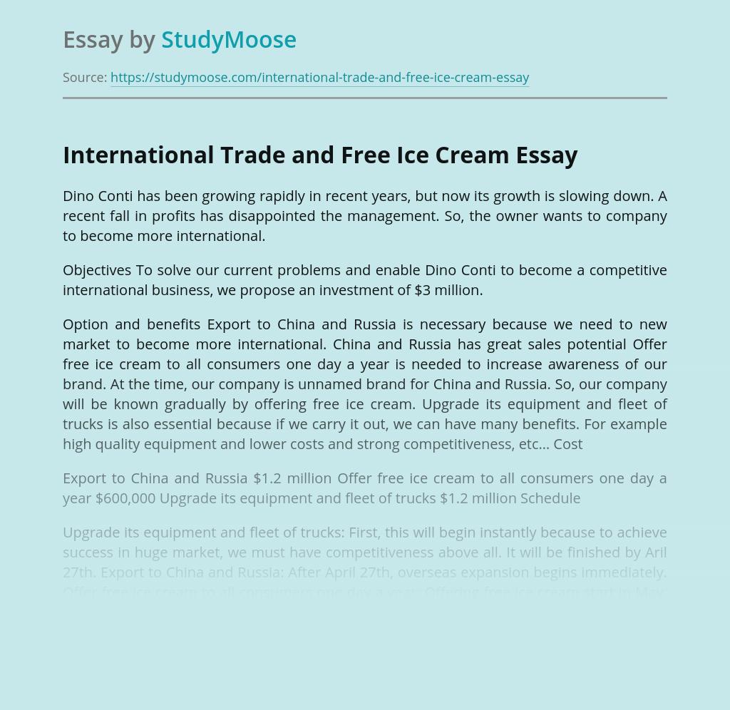 International Trade and Free Ice Cream