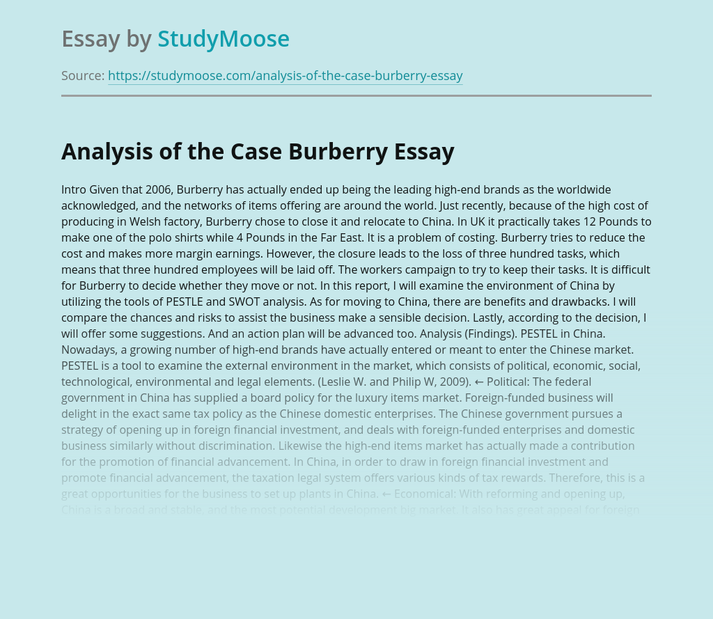 Analysis of the Case Burberry