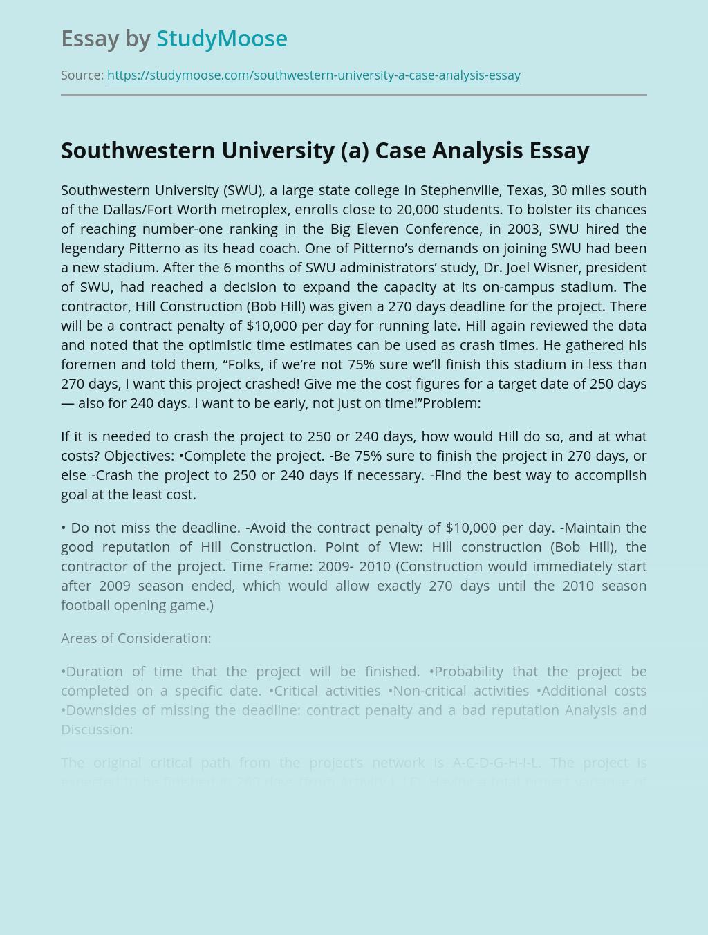 Southwestern University (a) Case Analysis