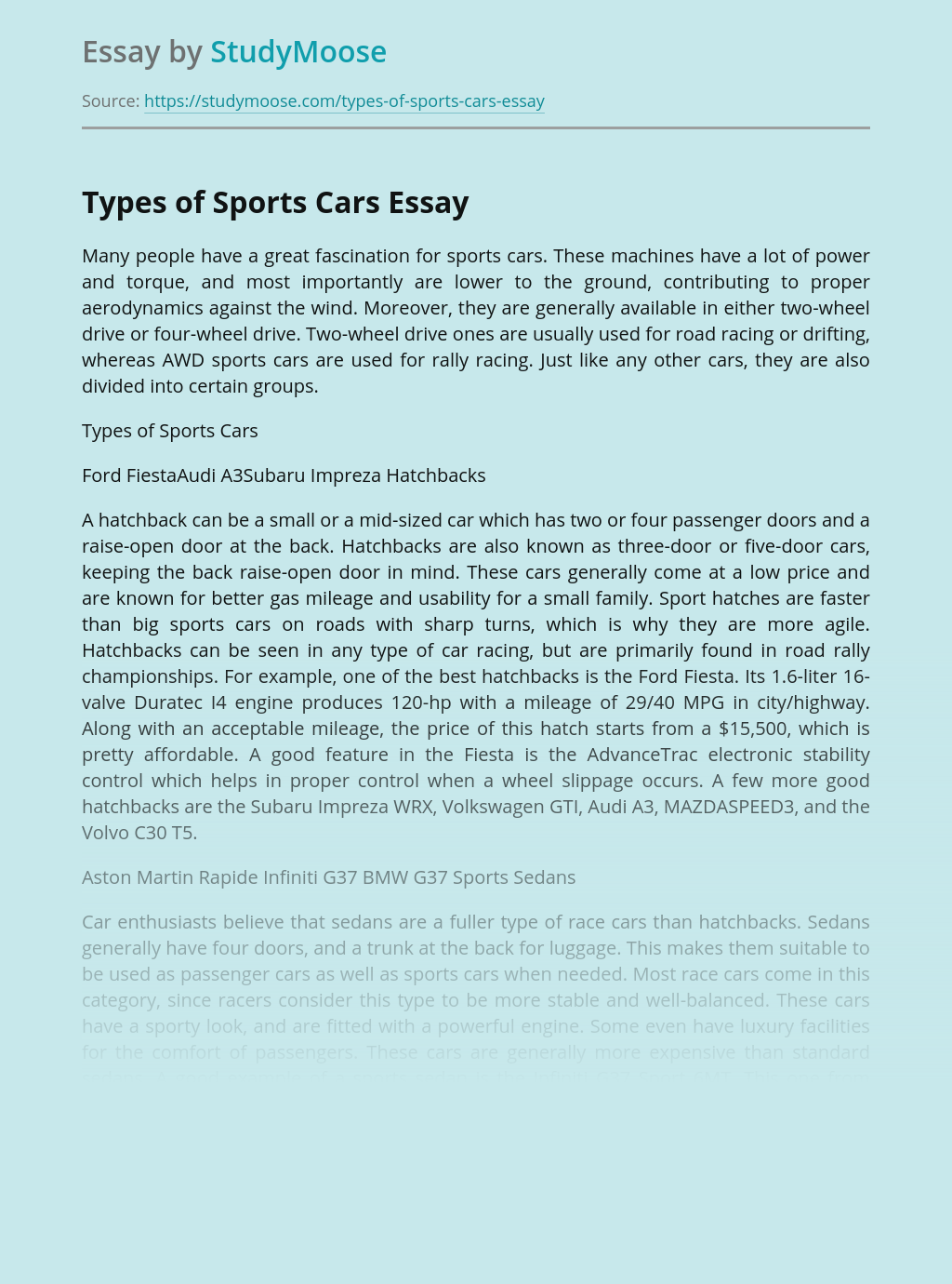 Types of Sports Cars
