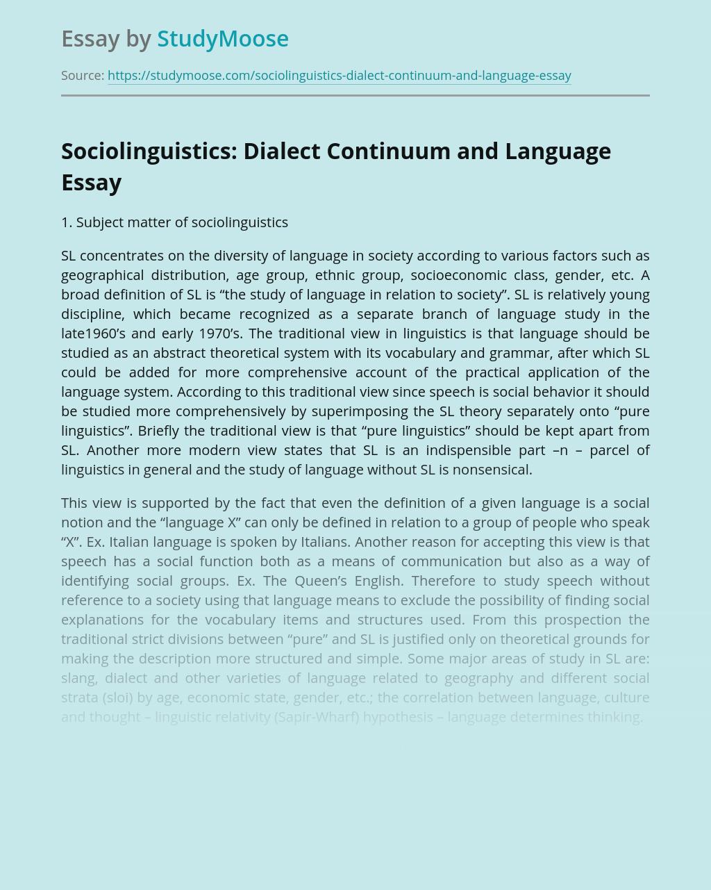 Sociolinguistics: Dialect Continuum and Language