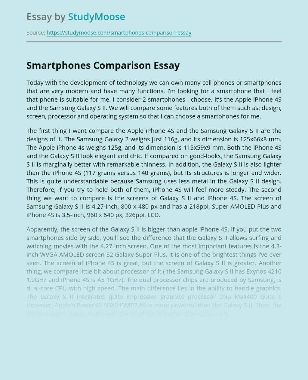 Smartphones Comparison