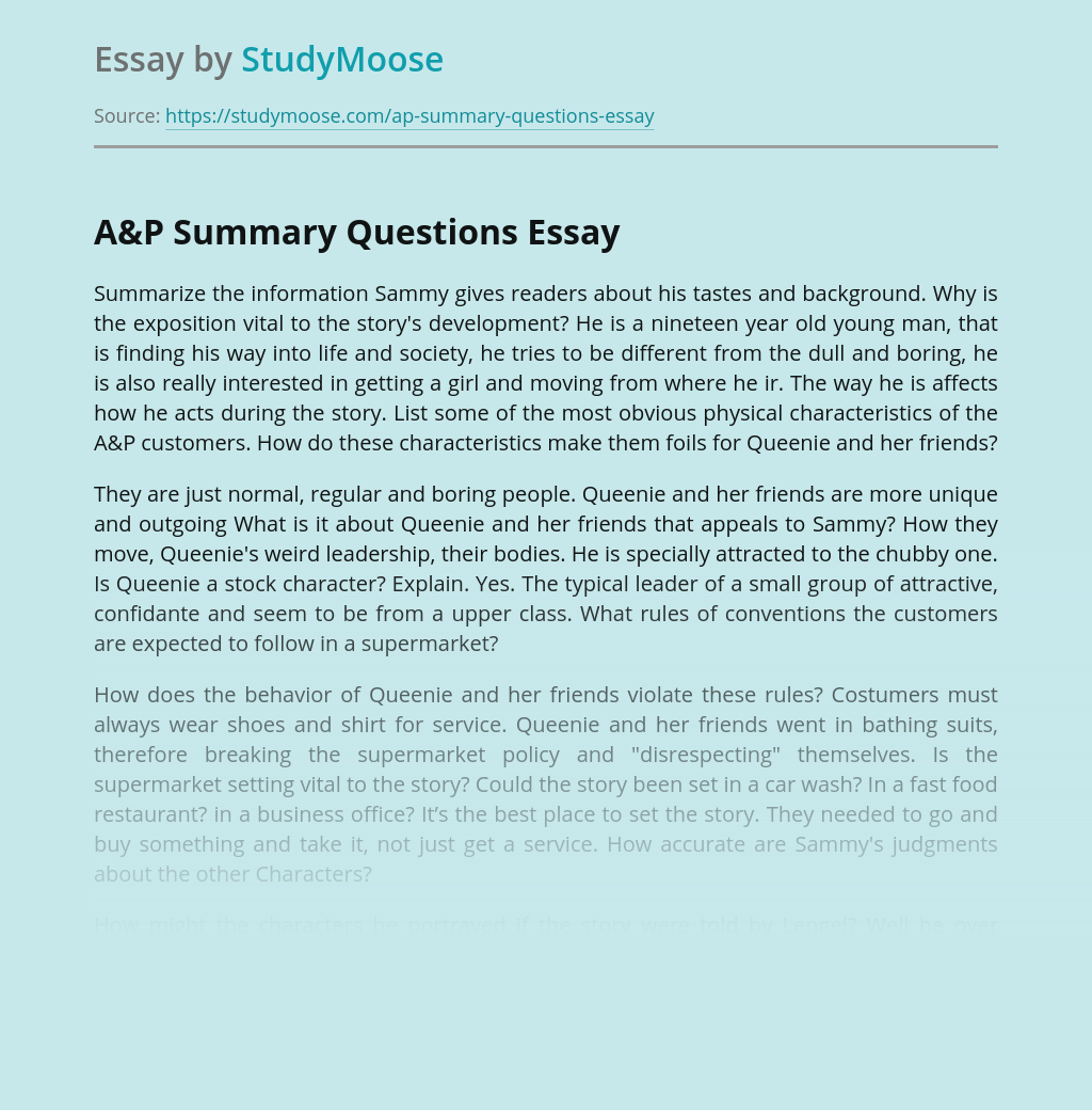 A&P Summary Questions