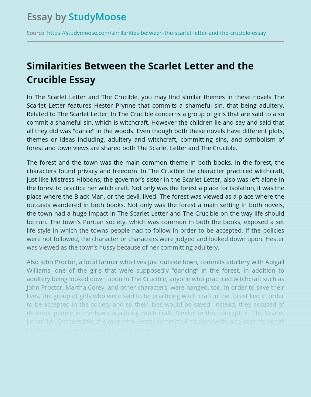 Similarities Between the Scarlet Letter and the Crucible