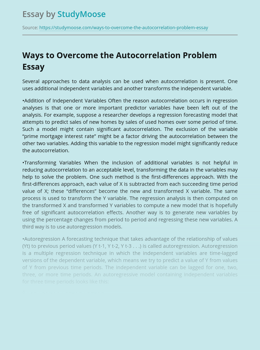 Overcoming the Autocorrelation Problem in Data Analysis