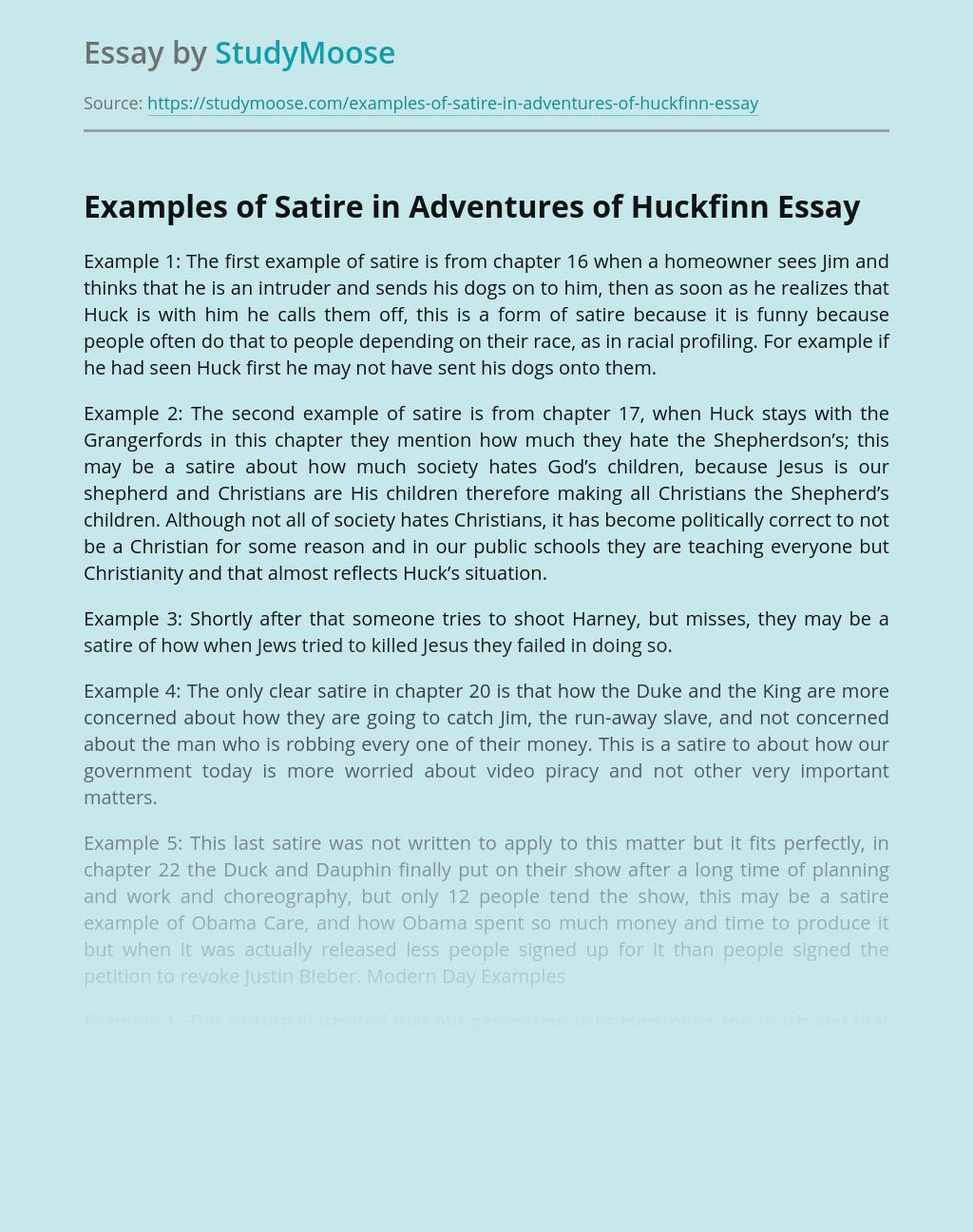 Examples of Satire in Adventures of Huckfinn