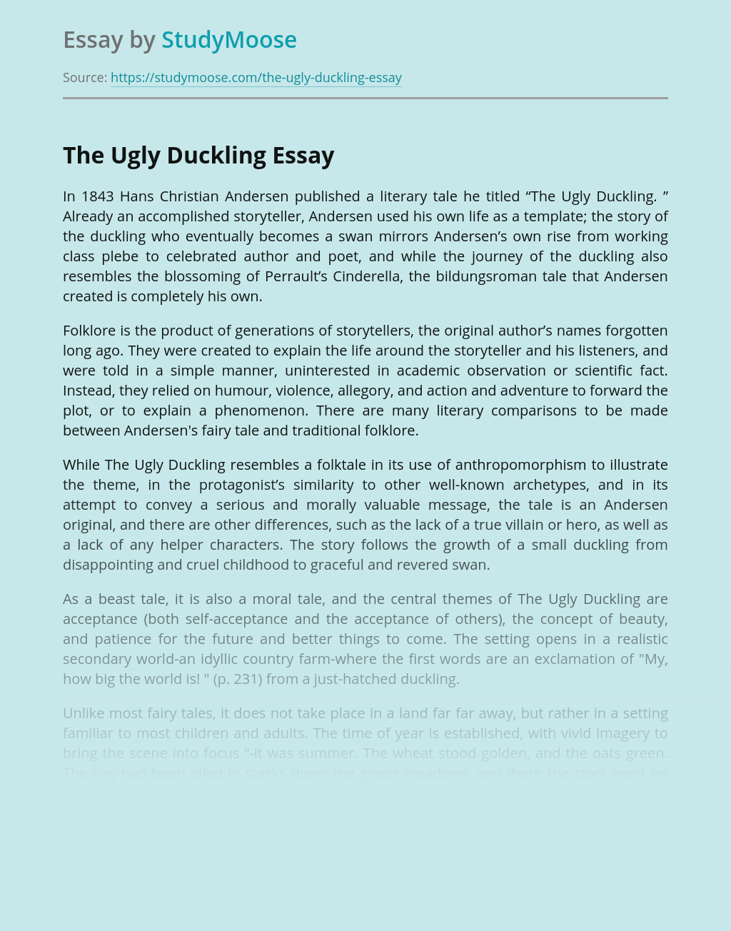 The Ugly Duckling A Story With Moral Value