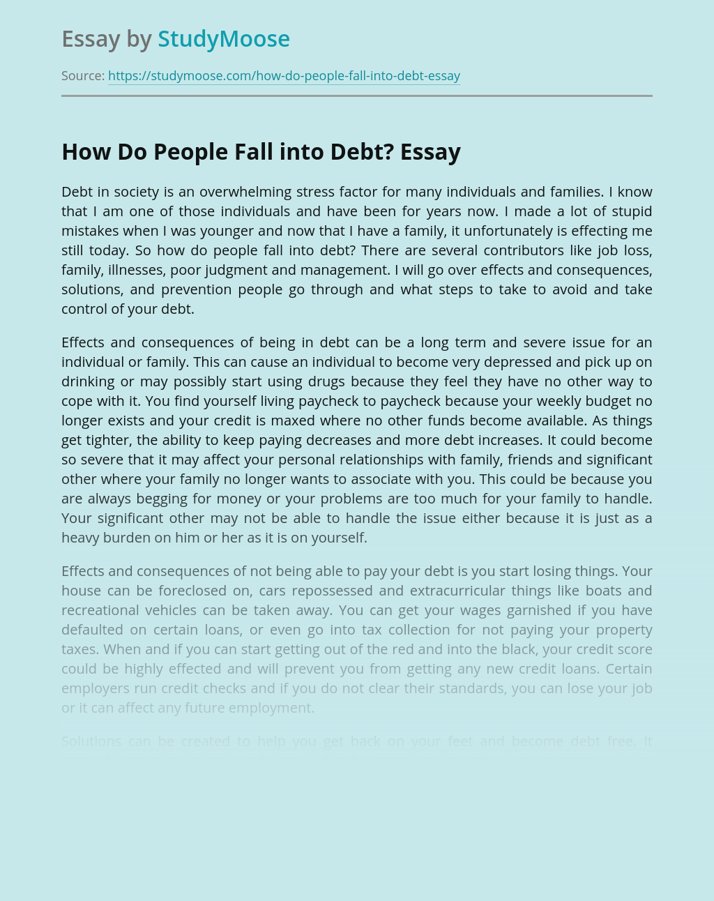 How Do People Fall into Debt?