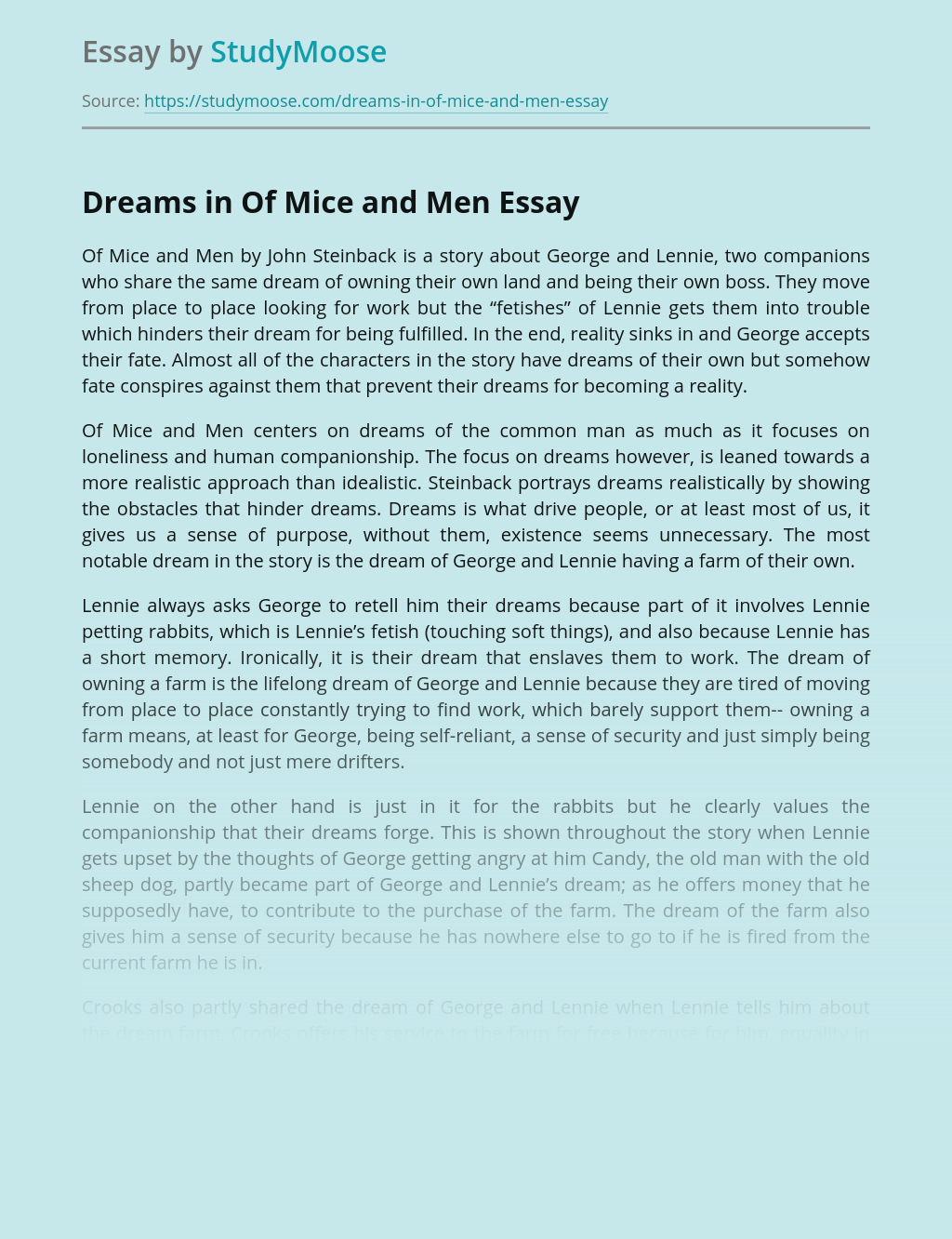 Dreams in Of Mice and Men