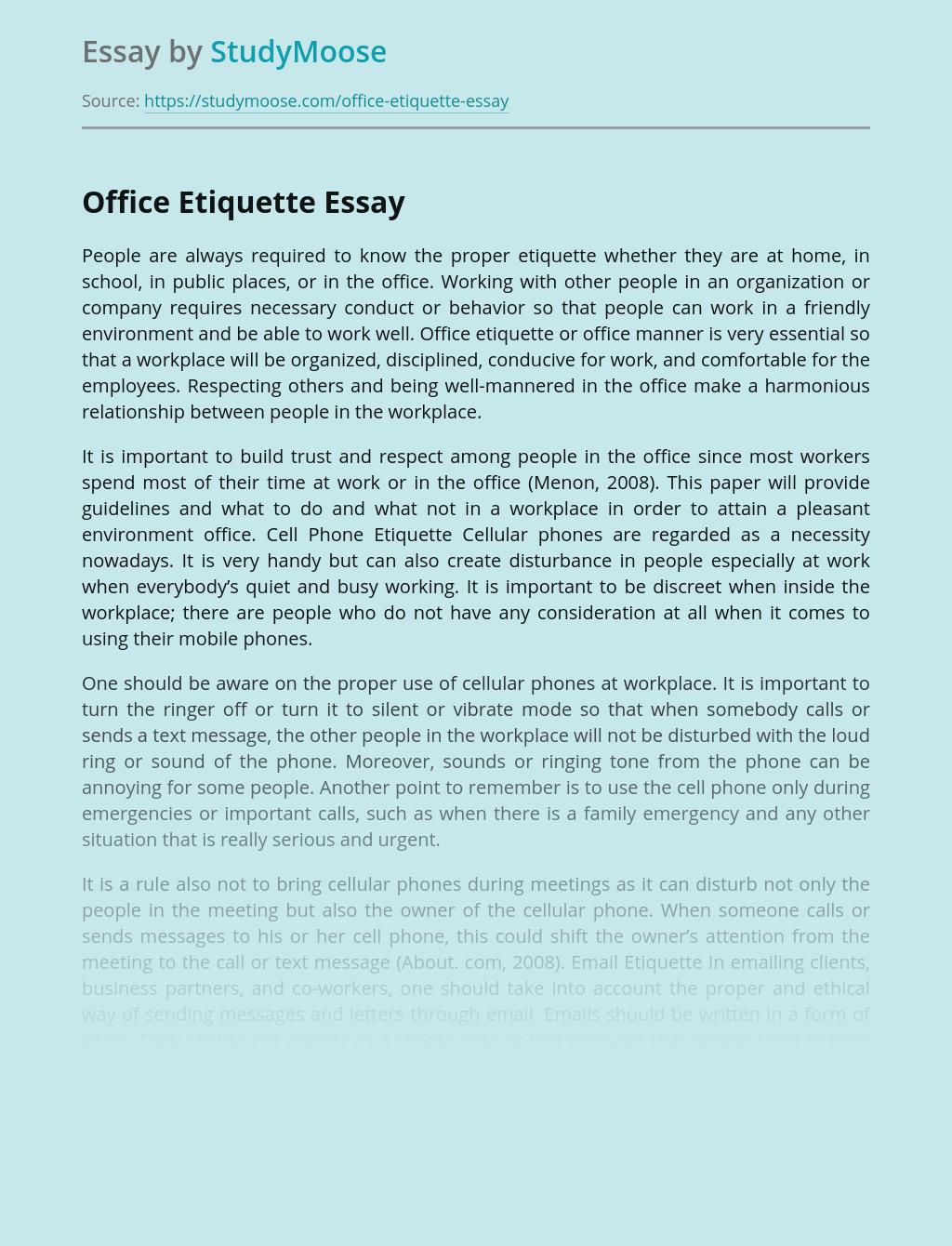 Office Etiquette Free Essay Example