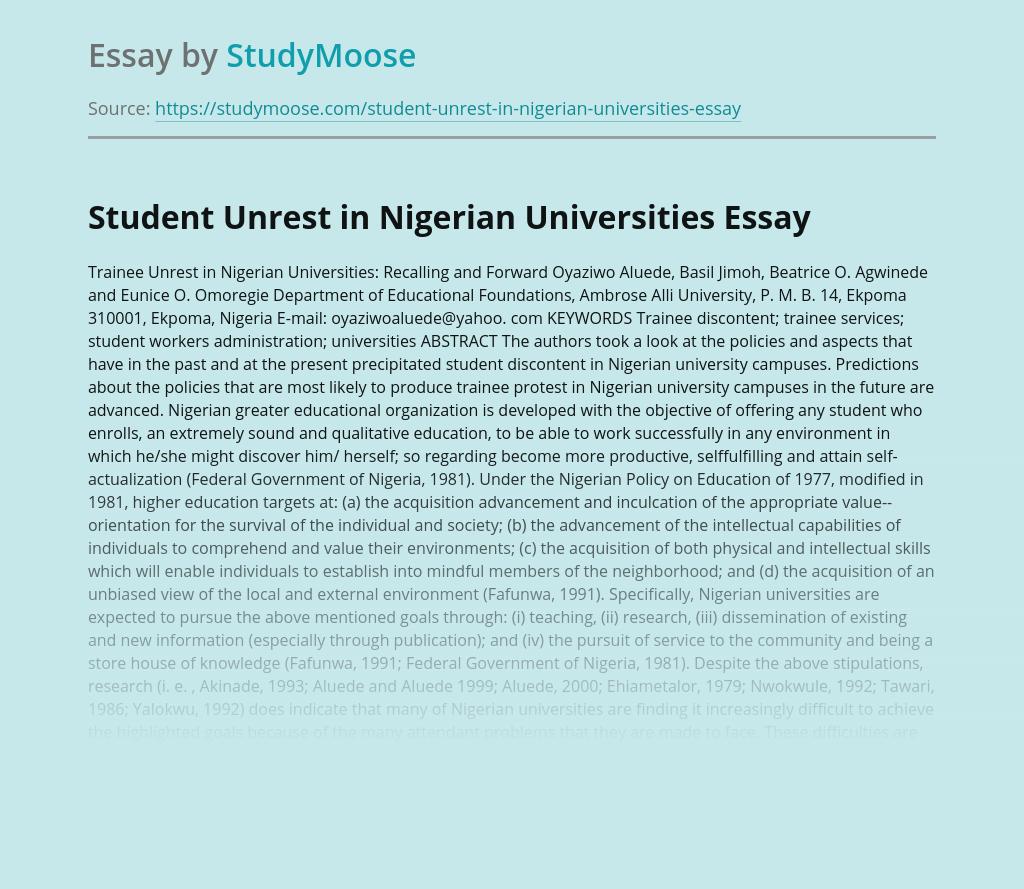 Student Unrest in Nigerian Universities