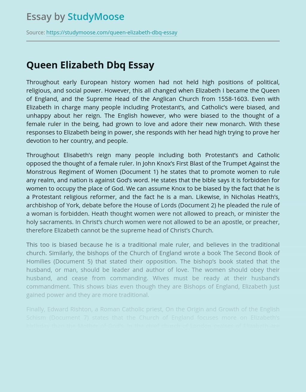 Queen Elizabeth - European history