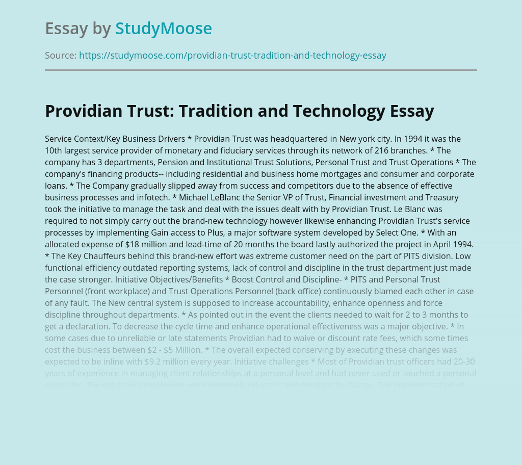 Providian Trust: Tradition and Technology