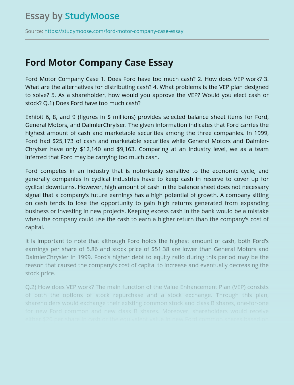 Ford Motor Company Case Free Essay Example