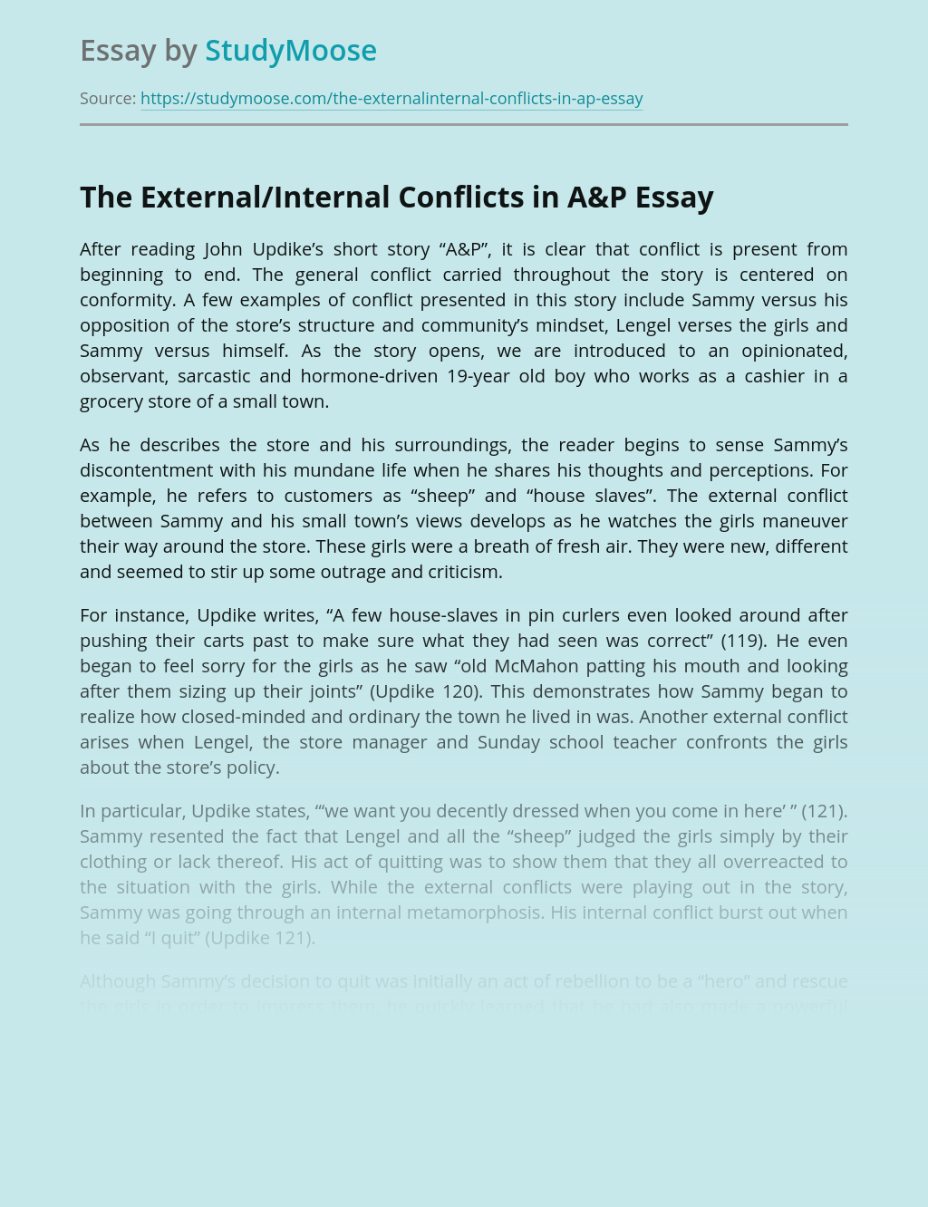 The External/Internal Conflicts in A&P