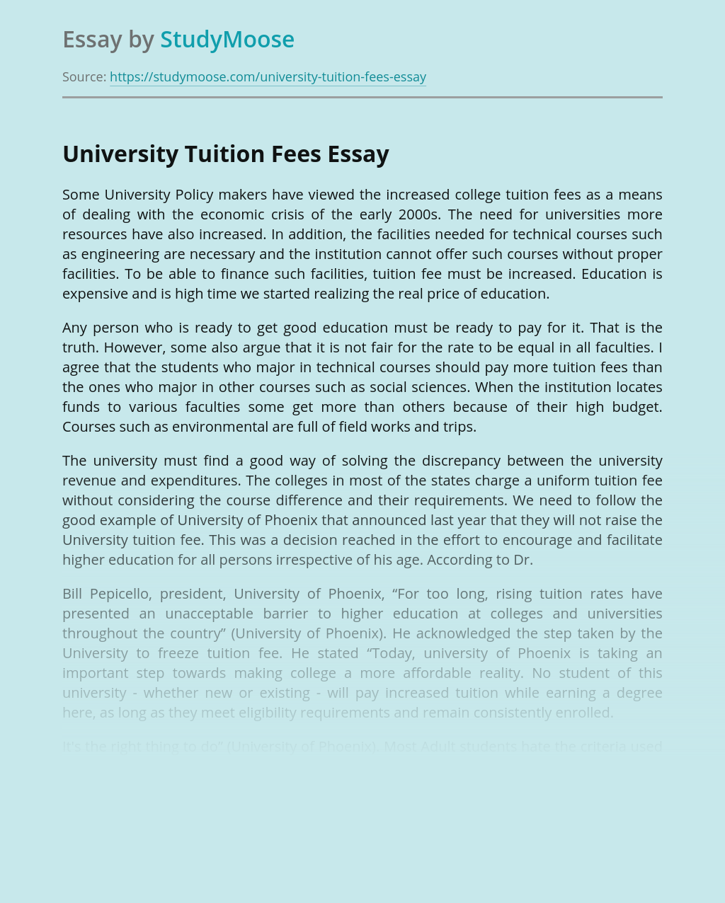 University Tuition Fees