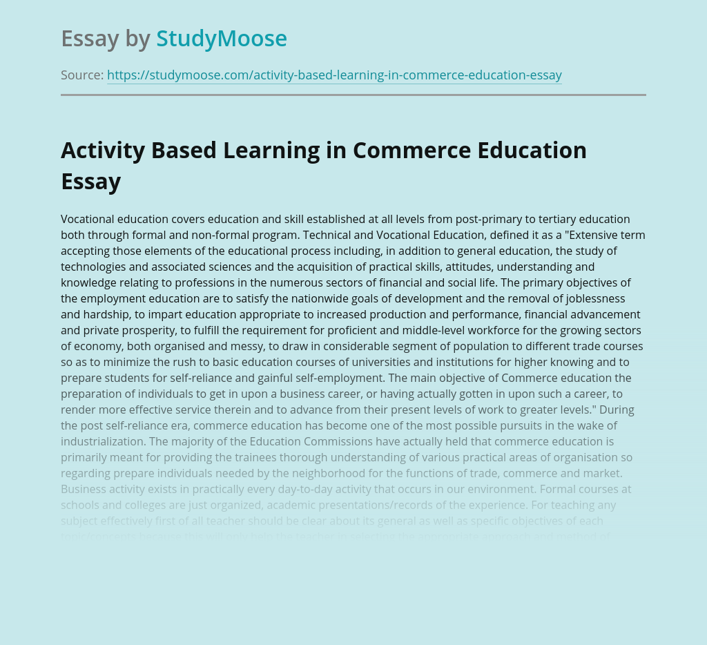 Activity Based Learning in Commerce Education