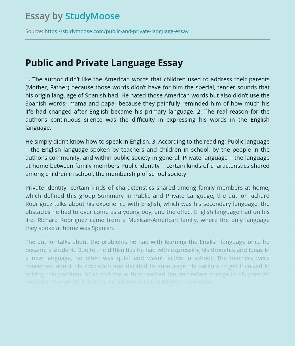 Public and Private Language
