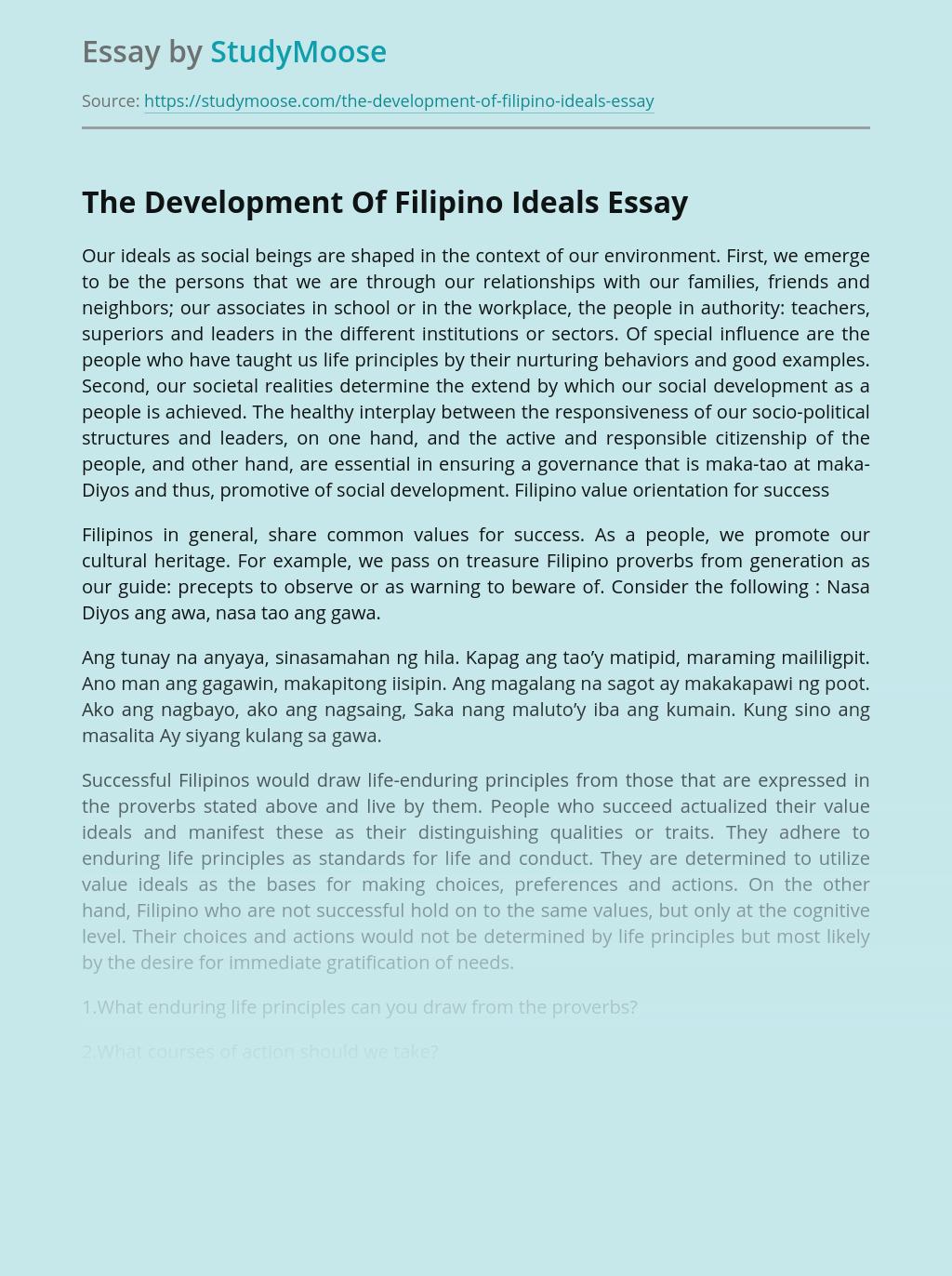 The Development Of Filipino Ideals