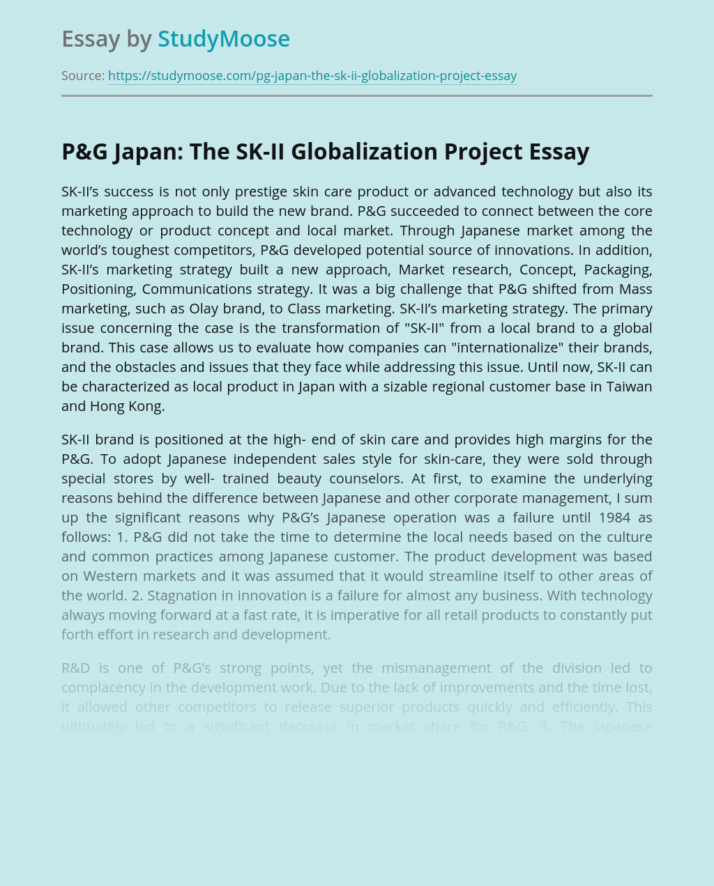 P&G Japan: The SK-II Globalization Project