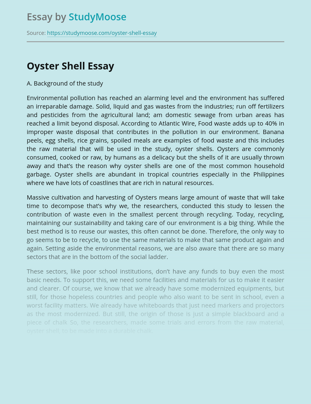 Hazards Of Environmental Pollution by Oyster Shell