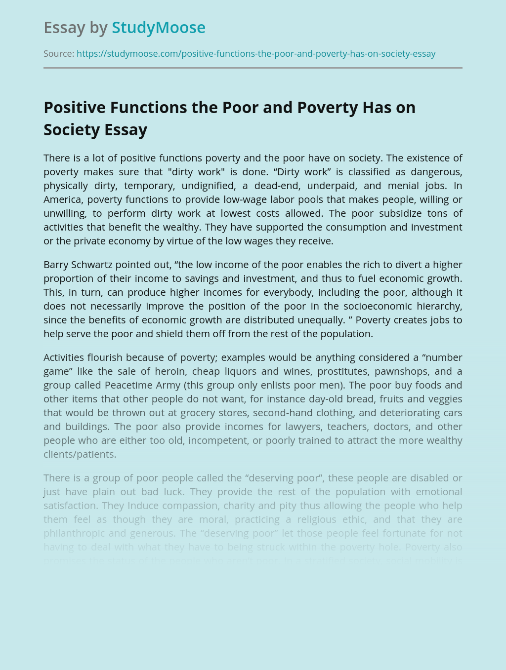 Positive Functions the Poor and Poverty Has on Society