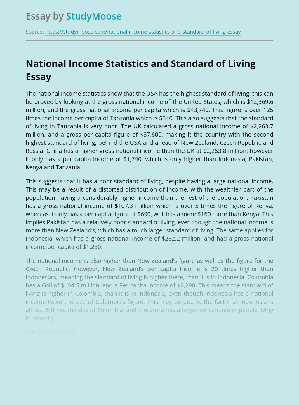 National Income Statistics and Standard of Living