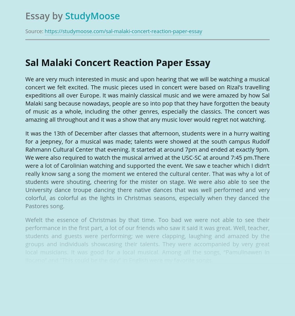 Sal Malaki Concert Reaction Paper