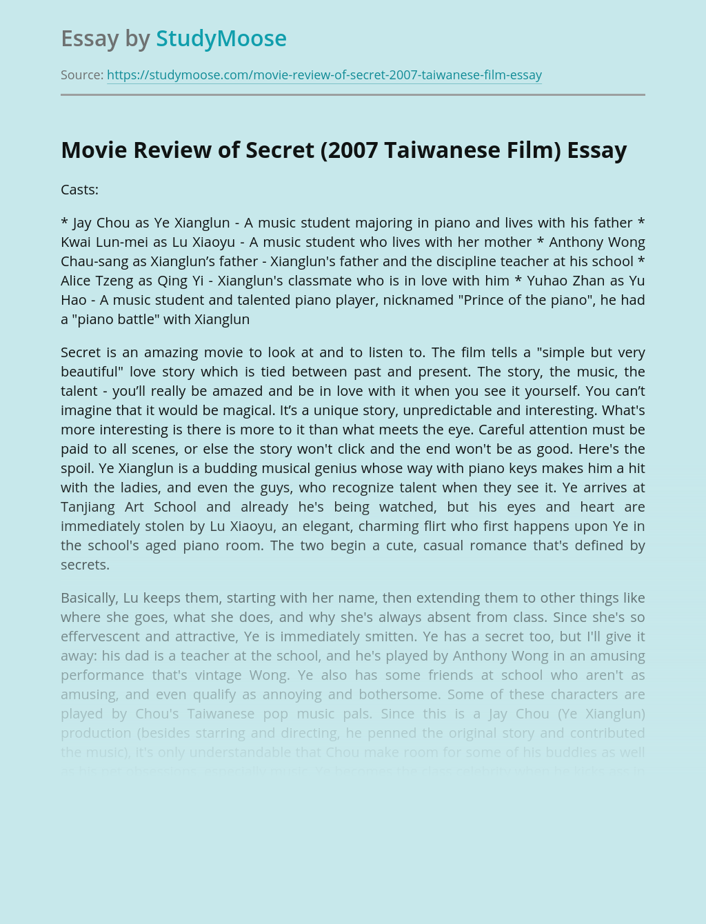 Movie Review of Secret (2007 Taiwanese Film)