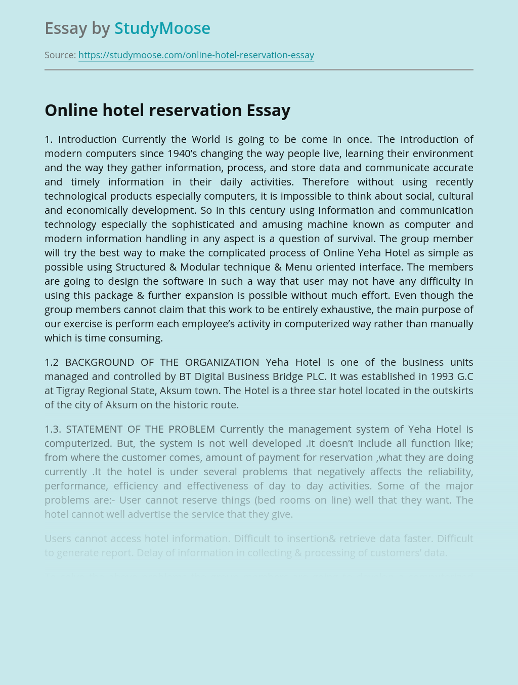 Online Management System for Yeha Hotel Reservation