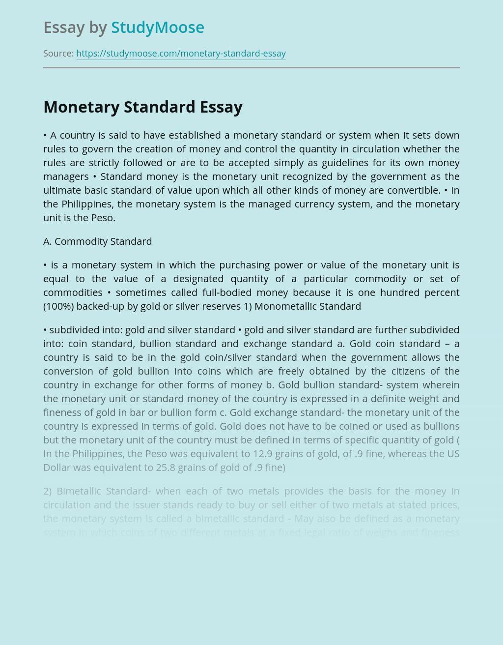 Monetary Standard