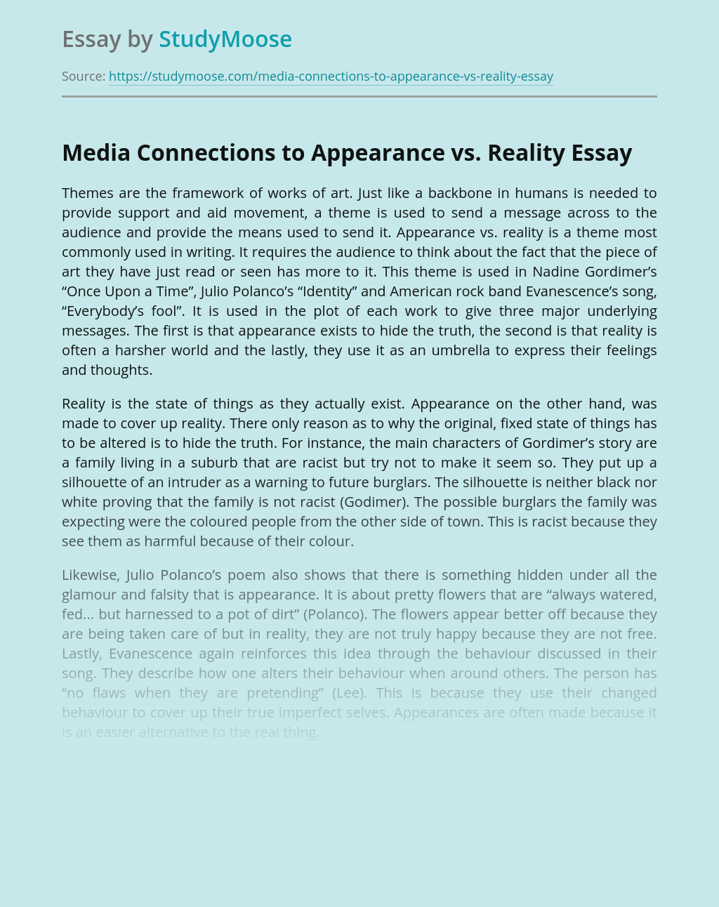 Media Connections to Appearance vs. Reality