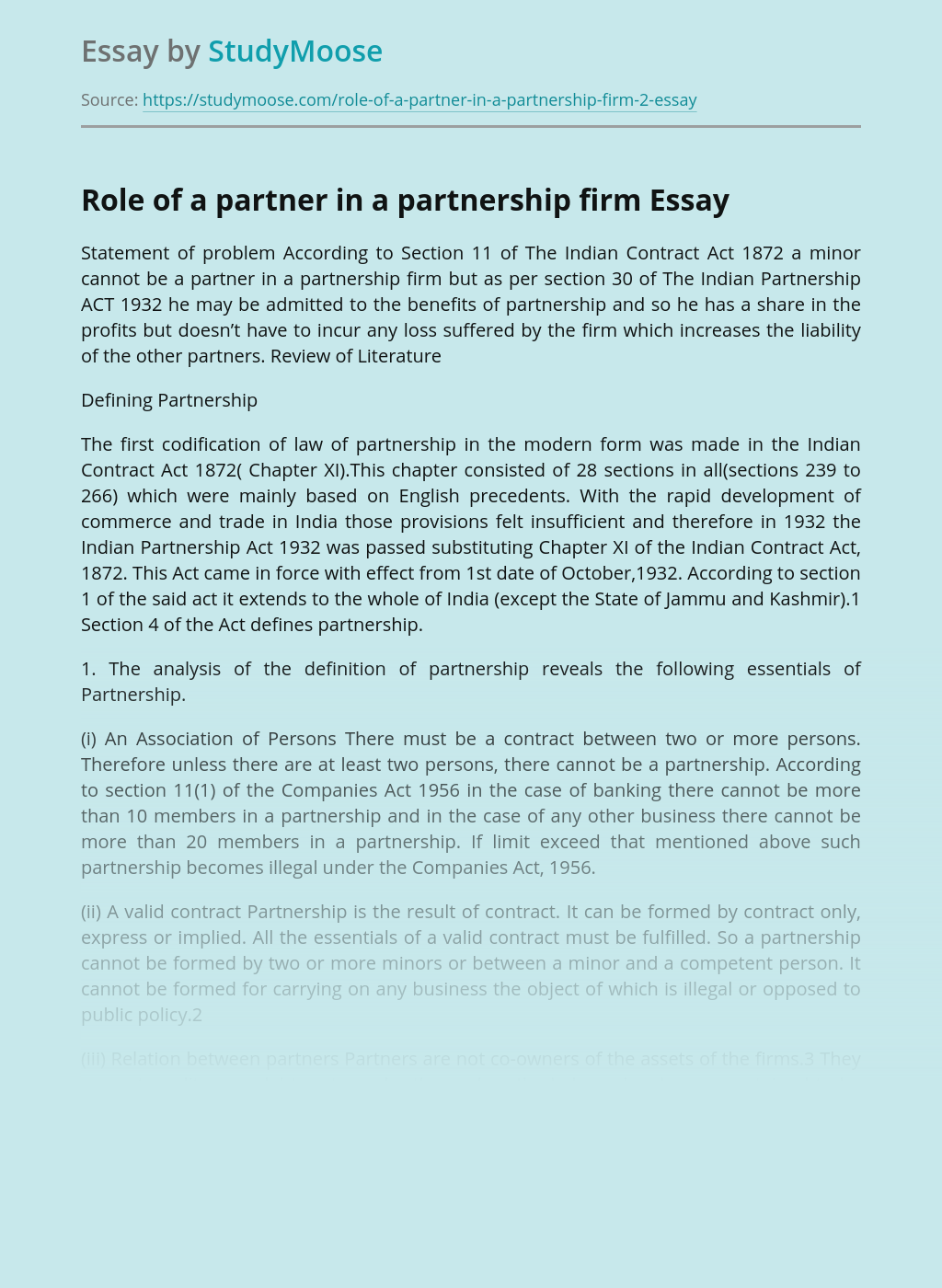 Analysis Role of a Partner in a Partnership Firm