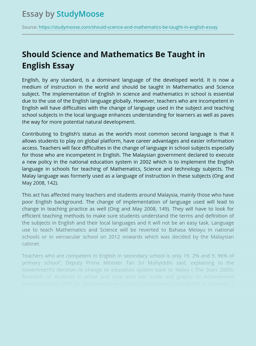 Should Science and Mathematics Be Taught in English