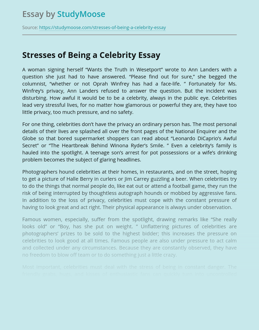 Stresses of Being a Celebrity
