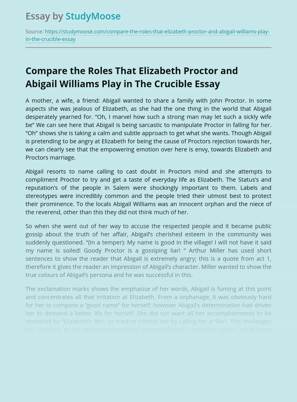 Compare the Roles That Elizabeth Proctor and Abigail Williams Play in The Crucible