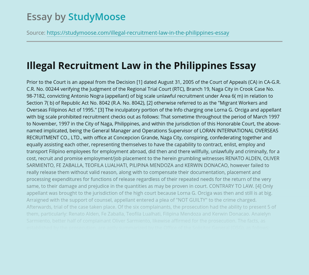 Illegal Recruitment Law in the Philippines