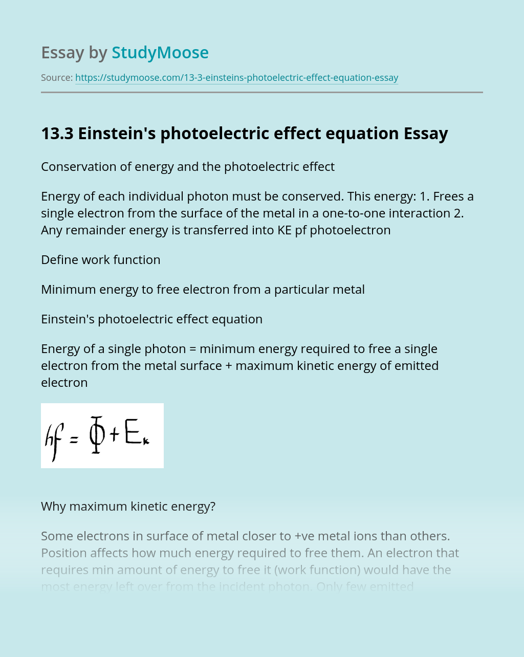 13.3 Einstein's photoelectric effect equation