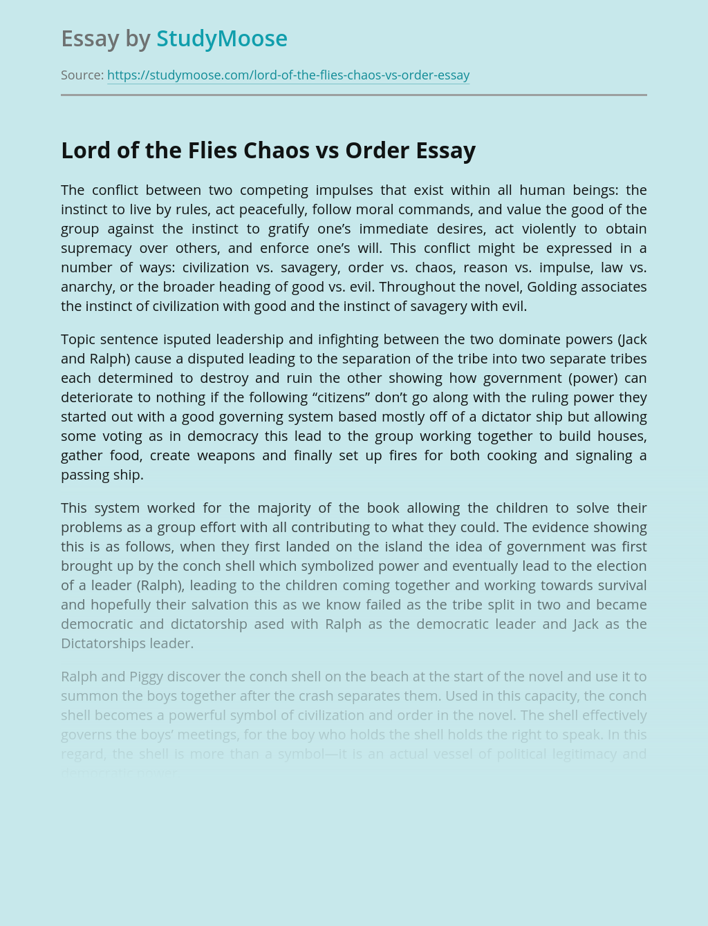 Lord of the Flies Chaos vs Order