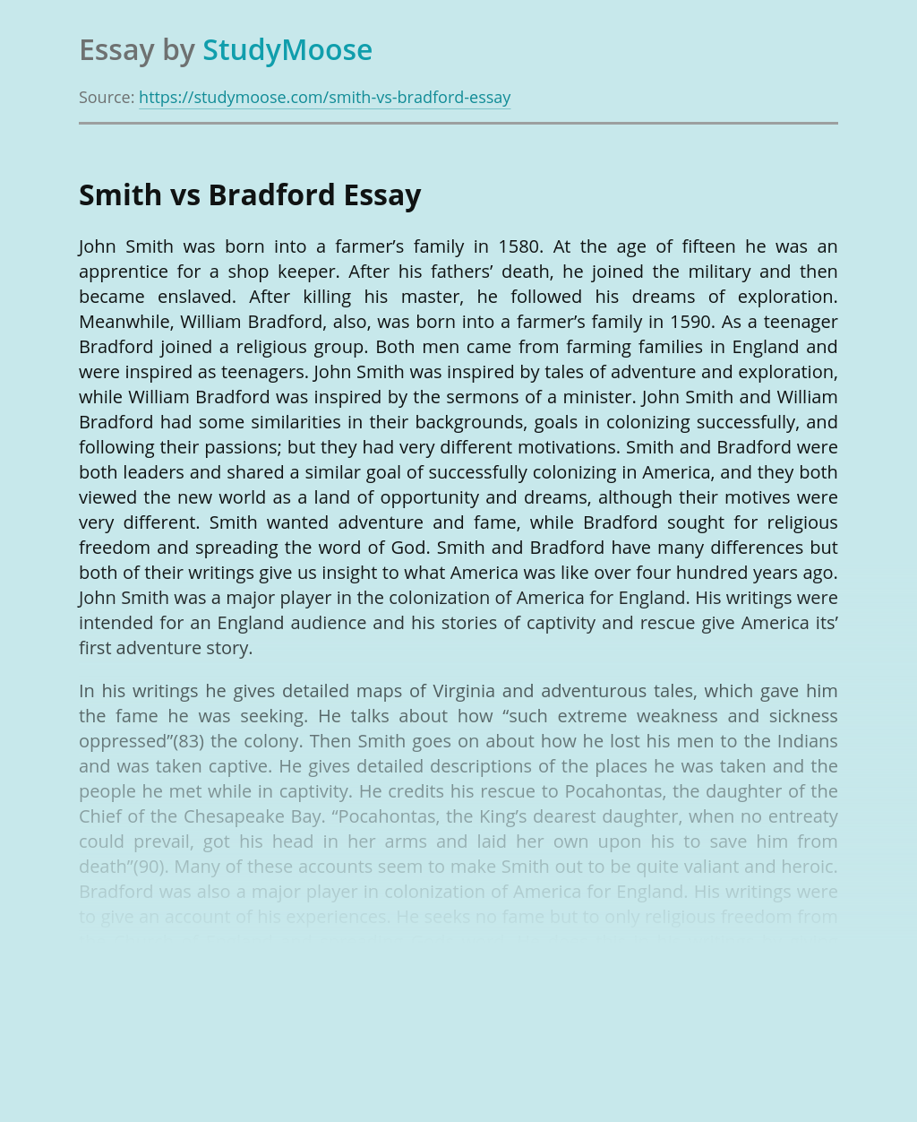 John Smith vs. William Bradford