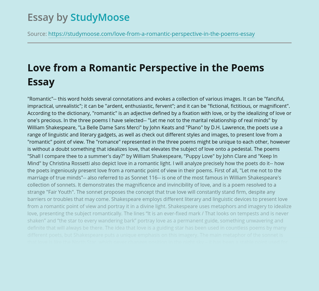 Love from a Romantic Perspective in the Poems