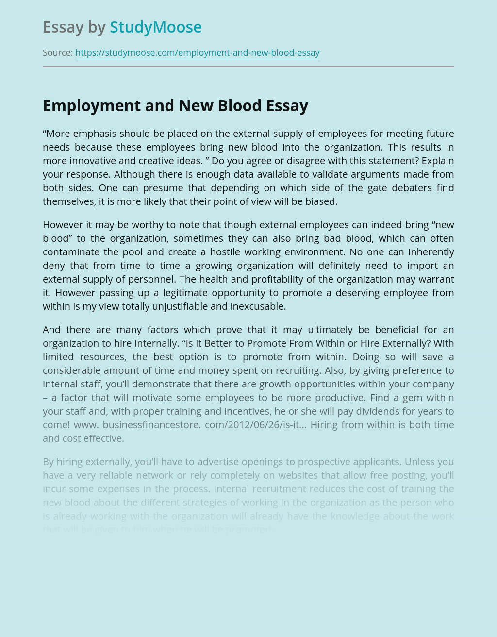 Employment and New Blood
