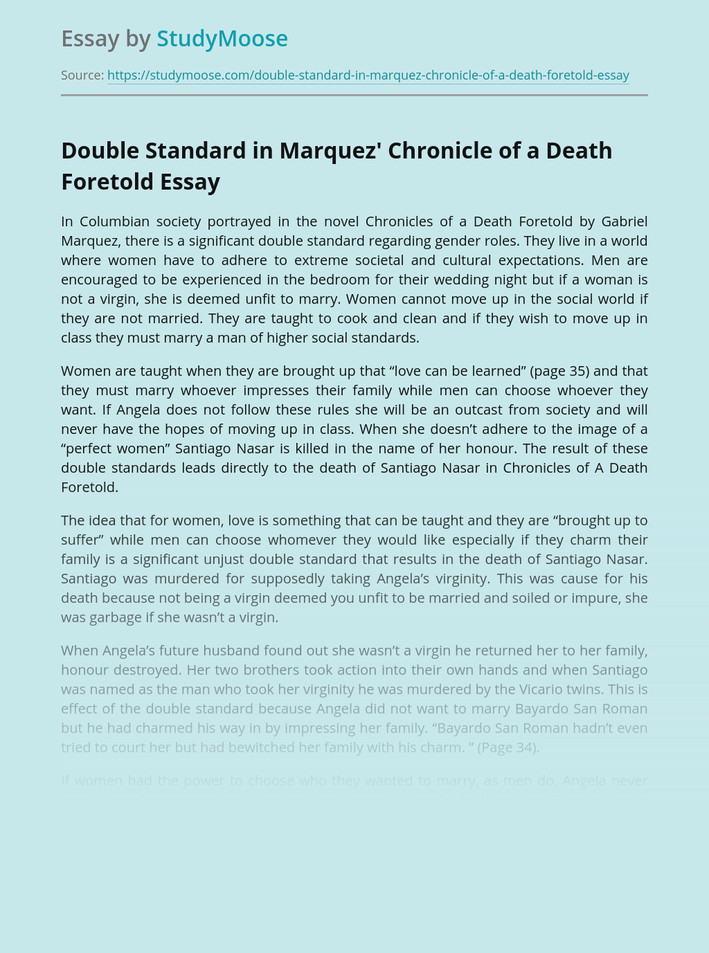 Double Standard in Marquez' Chronicle of a Death Foretold